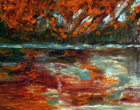 Artist: Laara WilliamsenTitle: Autumn river reflection