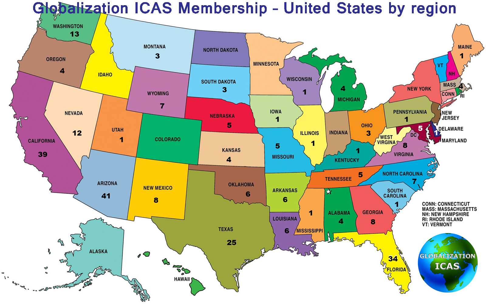 Directory Of Membership United States Globalization ICAS Looney - Us map boston