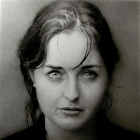 Artist: Paul EmsleyPortrait of Katherine Black chalk & pencil drawing