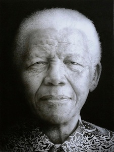 Artist: Paul Emsleyportrait of Nelson Mandela Black chalk and pencil drawing