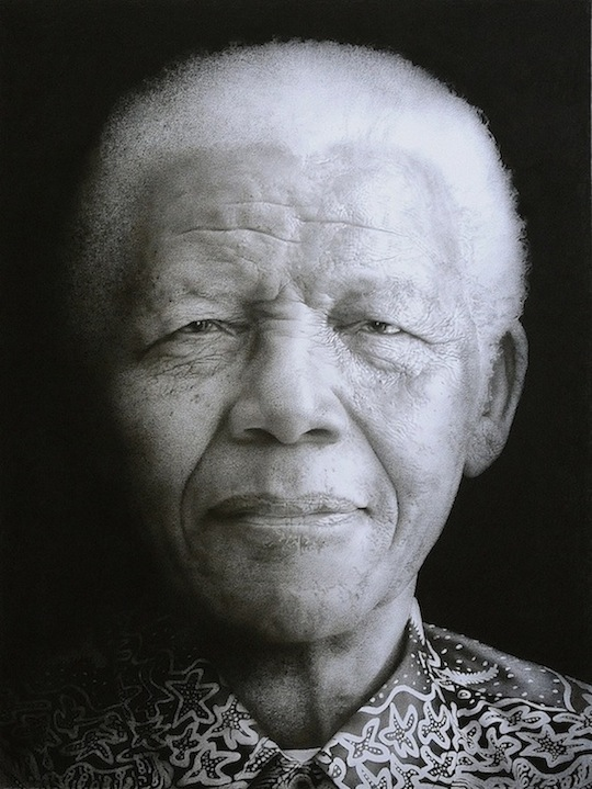 Artist: Paul Emsley portrait of Nelson Mandela Black chalk and pencil drawing