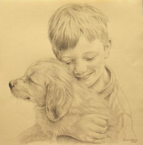 Artist: Kevin Geary Title: Boy with puppy