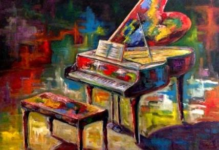 Colourful Art world by Mike Halem Title: Grand Piano