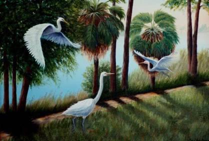 Artist: Lora Van Noord Egrets Title: In the Park
