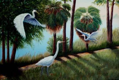 Artist: Lora Van Noord Egrets Title: In the Park