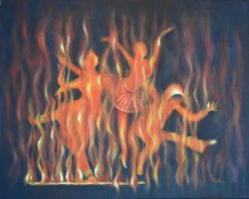 Artist: Usha Shantharam Title: Setting the Stage on Fire
