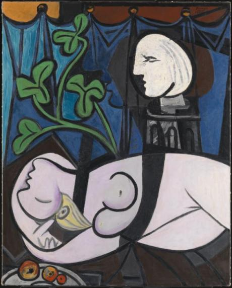 Nude, Green leaves and Bust (also known as Nude with Sculptor's Turntable; Nu au plateau de sculpteur) 1932 Pablo Picasso 1881-1973 Lent from a private collection 2011 https://www.tate.org.uk/art/work/L02971