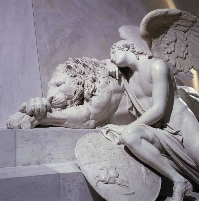 White Marble carving statues by Antonio Canova Angels with a Lion