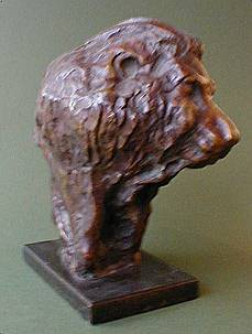 Bronze Posing Lion Head by JOHN W. MILLS