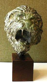 Bronze Lion head mask by JOHN W. MILLS