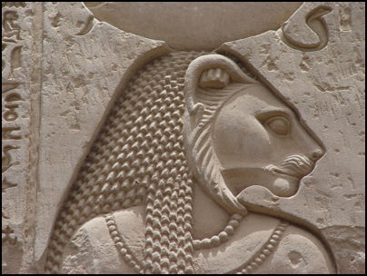 Wall carving on stone Head of the SEKHMET